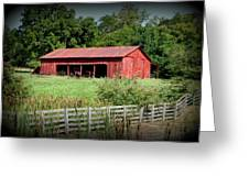 The Old Tractor Shed In Vignette Greeting Card