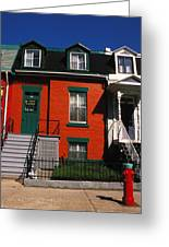 The Orange House In Montreal Greeting Card