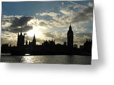 The Outline Of Big Ben And Westminster And Other Buildings At Sunset Greeting Card
