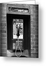 The Payphone - Black And White Greeting Card