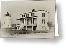 The Piney Point Lighthouse In Sepia Greeting Card