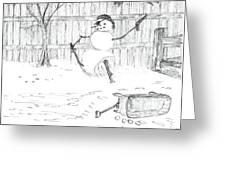 The Pirate In My Backyard - Sketch Greeting Card by Robert Meszaros