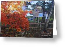 The Playhouse In Fall Greeting Card