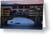The Ponte Vecchio At Dusk Greeting Card