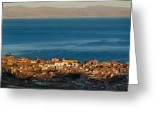 The Population Of Copacabana On The Shores Of Lake Titicaca. Republic Of Bolivia. Greeting Card
