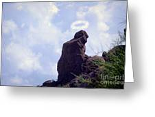 The Praying Monk With Halo - Camelback Mountain - Painted Greeting Card