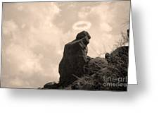 The Praying Monk With Halo - Camelback Mountain Greeting Card by James BO  Insogna