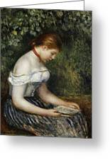 The Reader A Seated Young Girl  Greeting Card by Pierre Auguste Renoir