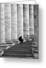 The Reader Amidst The Columns Bw Greeting Card