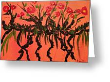 The Red Flowers By Sunset Greeting Card by Pretchill Smith