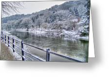 The River Severn In Ironbridge Frozen During Winter II Greeting Card