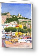 The Ruined Tower Above The Beach At Amalfi On The Southern Italian Coast Greeting Card