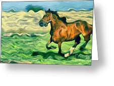 The Running Horse Greeting Card by Odon Czintos