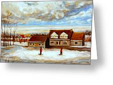 The Schoolhouse Winter Morning Quebec Rural Landscape Greeting Card