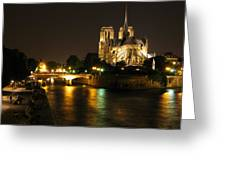 The Seine And Notre Dame At Night Greeting Card