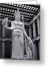 The Statue Of Athena Bw Greeting Card