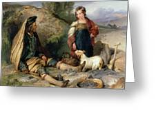 The Stone Breaker And His Daughter Greeting Card
