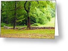 The Stone Wall Before The Cabin Greeting Card