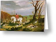 The Suffolk Hunt - Going To Cover Near Herringswell Greeting Card