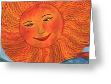 The Sun God Detail Of Red Sky At Night Greeting Card