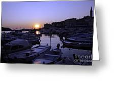 The Sun Goes Down In Rovinj Greeting Card