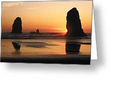 The Sun Sets Over The Sea Stacks Greeting Card