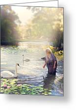 The Swan And The Fairy  Greeting Card