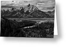 The Tetons - Il Bw Greeting Card