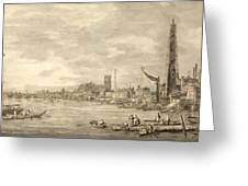 The Thames Looking Towards Westminster From Near York Water Gate  Greeting Card by Giovanni Antonio Canaletto