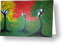 The Three Colours Of Maple Trees Greeting Card by Pretchill Smith