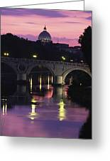 The Tiber River And The Dome Of St Greeting Card