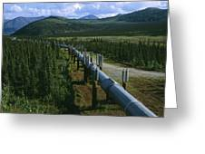 The Trans-alaska Pipeline Runs Greeting Card