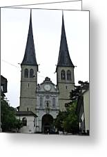 The Twin Spires Of Hof Church In Lucerne Greeting Card