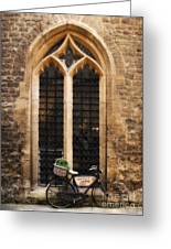 The Vaults Garden Cafe Bicycle In Oxford England Greeting Card