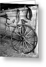 The Wagon Wheel Bw Greeting Card