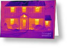 Thermogram Of A House In Winter Greeting Card