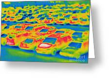 Thermogram Of A Parking Lot Greeting Card