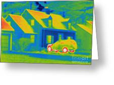 Thermogram Of Car In Front Of A House Greeting Card