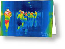 Thermogram Of Students In A Hallway Greeting Card
