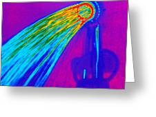 Thermogram Of Water Pouring From A Shower Head Greeting Card by Dr. Arthur Tucker