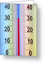 Thermometer Measuring 32 Celsius Greeting Card