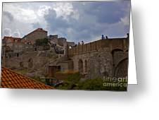 They Walk The Wall In Dubrovnik Greeting Card