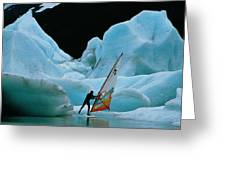 This Windsurfer In Portage Lake Greeting Card by Chris Johns