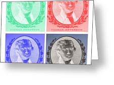 Thomas Jefferson In Negative Colors Greeting Card