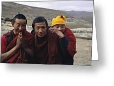 Three Buddhist Lamas In Gansu Province Greeting Card by David Edwards