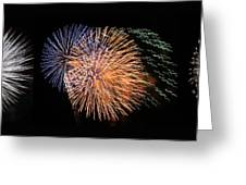 Three Bursts Of Fireworks Four July Two K Ten Greeting Card by Carl Deaville