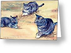 Three Cats In Dry Grass Greeting Card