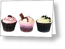 Three Cupcakes Greeting Card by Jane Rix