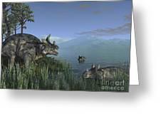 Three Estemmenosuchus Mirabilis Face Greeting Card
