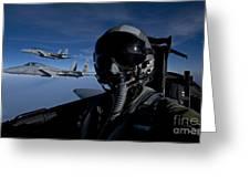 Three F-15 Eagles Fly High Greeting Card